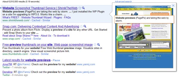 example of google instant previews